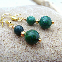 Chrysocolla Gold Plated Earrings