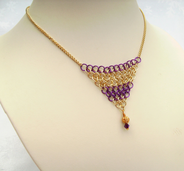 Chainmail Pendant Necklace Purple Gold
