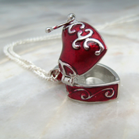 Valentine Heart Rose Locket Necklace