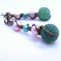 Dragon Vein Agate Pearl & Vintage Bronze Wire Wrapped Earrings