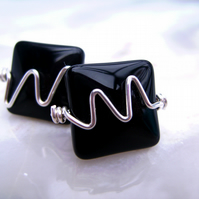 Black Obsidian & Wire  Mens Gents Cufflinks