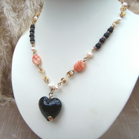 Goth Black Heart Glass Necklace
