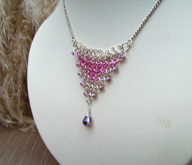 Pink Silver Chainmaille Droplet Necklace