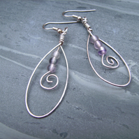 Fluorite Wire Spiral Earrings