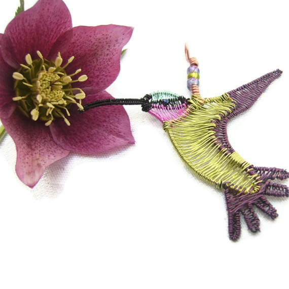 Humming Bird Wire Woven Necklace