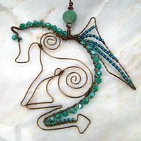 Blodeuwedd the Dragon in vintage bronze wire & dragon vein agate