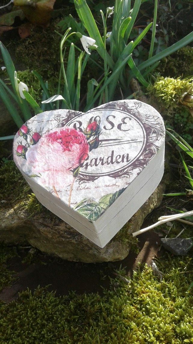Decoupage Rose Heart box