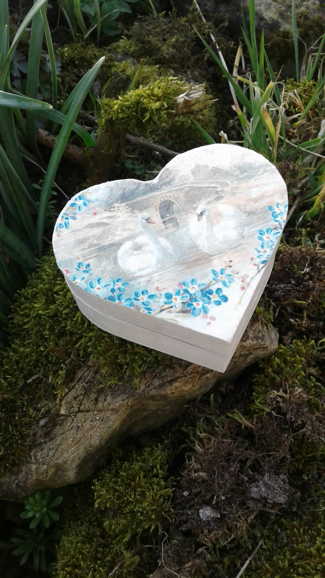 Decoupage Swan Lake Heart Trinket Gift Box