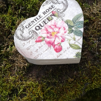 Gentle Rose Decoupage Wooden Heart Trinket Gift Box