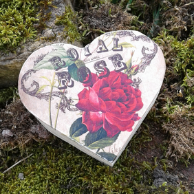 Red Rose Wooden Heart Shaped Gift Trinket Box