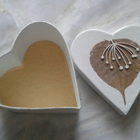 Decoupage Heart Leaf Trinket Storage Gift Box