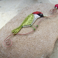 Woddpecker Wire Bird Necklace