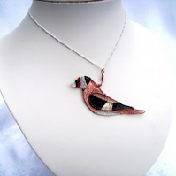 Goldfinch Bird Wire Woven Necklace