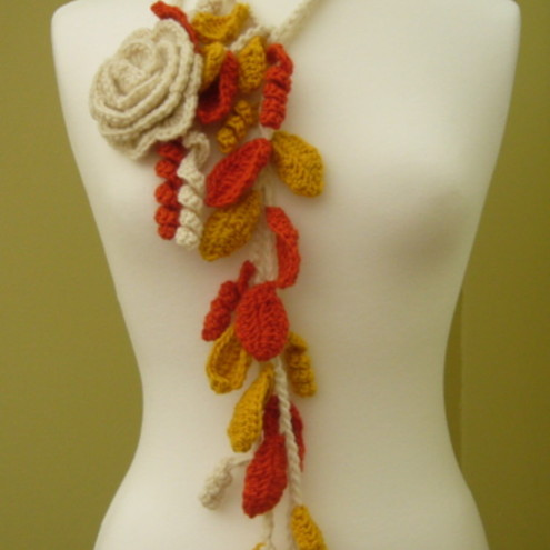 Lariat Scarf Necklace in Crochet with Autumn leaves and Cream Rose