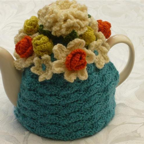 Crochet Tea Cosy/Cosie/Cozy - Blue with flowers (Made to order)