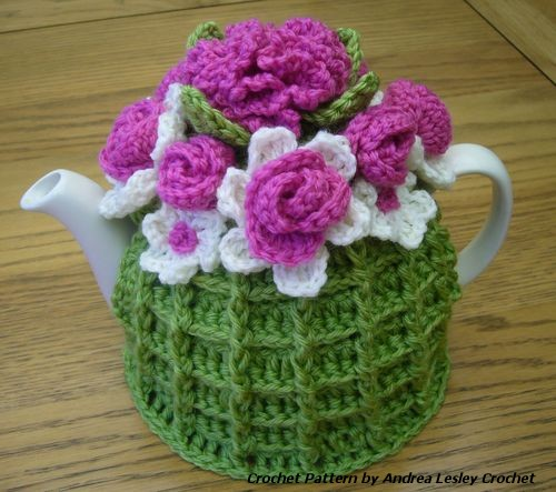 Free Crochet Pattern Small Tea Cozy : Pattern for Crochet Flower Basket Tea Cosy (PDF... - Folksy