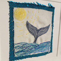 Blue Whale and Sea Textile Picture With Frame