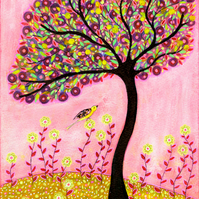 Blush Bird Tree Painting Large Poster Print 40x50 cm