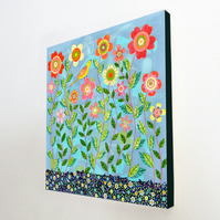 In The Meadow Large Art Block Painting 10.5 inches by 10.5 inches