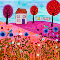 Meadow House Painting  Large Art Print 50x50cm, Wall Art Print, Wall Decor