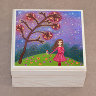 Fairytale Girl with Bird Jewellery Box