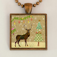 Christmas Reindeer Pendant Necklace