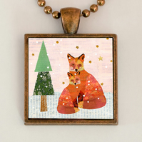 Snowy Foxes Pendant Necklace