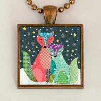 Winter Foxes Pendant Necklace