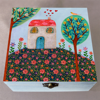 House on Hill  Wooden Box, Stationery Box, Birthday Gift, Christmas Gift