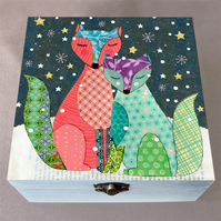 Winter Foxes Wooden Keepsake Box, Jewellery Box, Christmas Gift