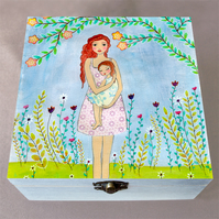 A Mother's Love Wooden Box, Keepsake Box, Jewellery Box, Large Box, Memory Box