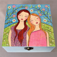 Lean on Me Jewellery Box, Birthday Gift, Christmas Gift, Wooden Box