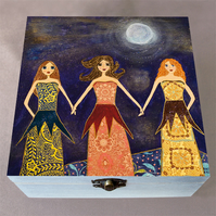 3 Sisters Friends Jewellery Box, Birthday Gift, Christmas Gift, Wooden Box