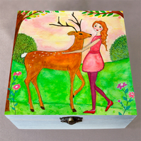 Deer Friend Jewellery Box, Birthday Gift, Christmas Gift, Large Wooden Box