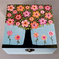 Flowering Tree Jewellery Box, Birthday Gift, Christmas Gift, Large Wooden Box