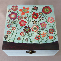 Flowers 3 Jewellery Box, Birthday Gift, Christmas Gift, Wooden Box