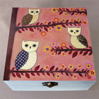 3 Wise Owls Jewellery Box, Birthday Gift, Christmas Gift, Large Wooden Box