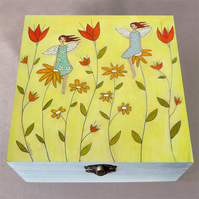 Flower Fairies Jewellery Box, Birthday Gift, Christmas Gift, Large Wooden Box