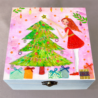 Christmas Tree Jewellery Box, Birthday Gift, Christmas Gift, Wooden Box