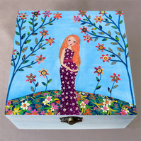 Motherhood Jewellery Box, New Mum Birthday Gift, Christmas Gift, Wooden Box