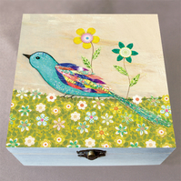 Blue Bird Wooden Box, Keepsake Box, Jewellery Box, Large Box, Memory Box