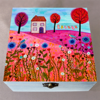 Meadow House Wooden Box, Birthday Gift, Jewellery Box, Christmas Gift Box