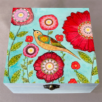 Red Flowers Wooden Box, Large Jewellery Box, Birthday Gift, Christmas Gift