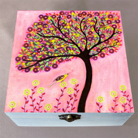 Blush Tree Jewellery Box, Birthday Gift, Christmas Gift, Wooden Box