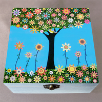 Summer Tree Jewellery Box, Birthday Gift, Christmas Gift, Wooden Box