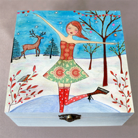 Winter Skater Jewellery Box, Birthday Gift, Christmas Gift, Large Wooden Box