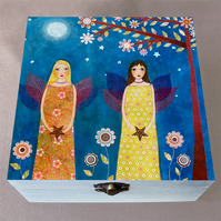 Moonlight Fairies Jewellery Box, Birthday Gift, Christmas Gift, Large Wooden Box