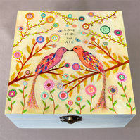 Love Birds Jewellery Box, Birthday Gift, Christmas Gift, Large Wooden Box