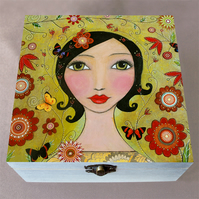 Flourish Make Up Box, Birthday Gift, Christmas Gift, Large Wooden Box