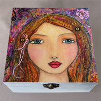 Amelia Make Up Box, Birthday Gift, Christmas Gift, Large Wooden Box